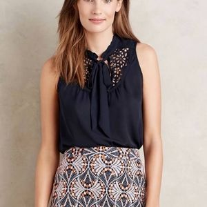Anthropologie Maeve Lasercut Navy Tank